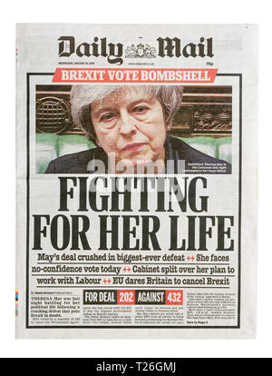 The front page of the Daily Mail from 16th January 2019 with the headline 'Fighting For Her Life' abaout Theresa May and Brexit - Stock Image