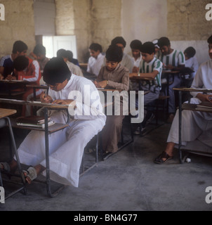 Boys class at Al Hidaya Al Khalifa School in Muharraq Bahrain - Stock Image