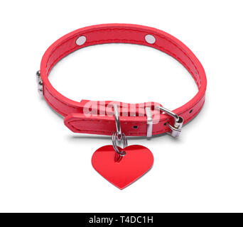 Red Leather Collar with Heart Tag Isolated on White Background. - Stock Image