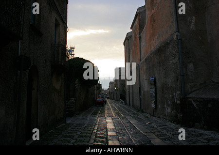 Photo by Marc F Henning Erice at sunset in Sicily Italy - Stock Image