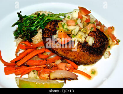 Seafood dinner entree Cajun spiced baked halibut filet salsa brown rice carrot julienne carrot onion stir fry - Stock Image
