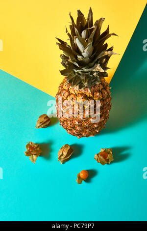 tropical fruit,pineapple,physalis - Stock Image