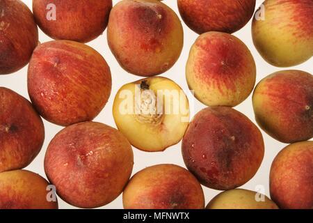 Fresh peaches. White background. Studio shot.         Ref: CRB538_103609_0031  COMPULSORY CREDIT: Martin Harvey / Photoshot - Stock Image