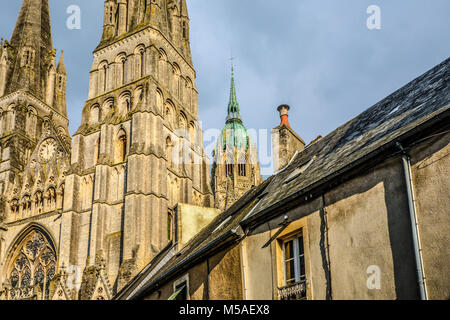 The exterior of Cathedral of Our Lady of Bayeux in the Normandy region of Bayeux France - Stock Image