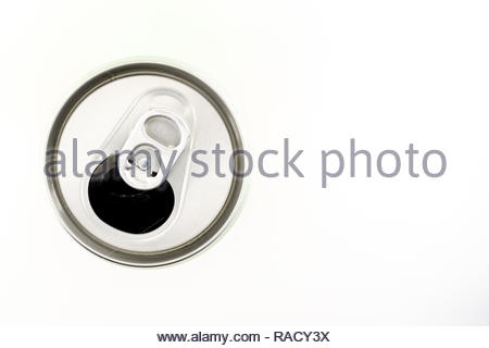drink can from top view isolated white background - Stock Image
