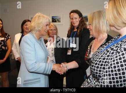 The Duchess of Cornwall during her visit to the Bray Women's Shelter in Co Wicklow, on the first day of her visit to Ireland. - Stock Image