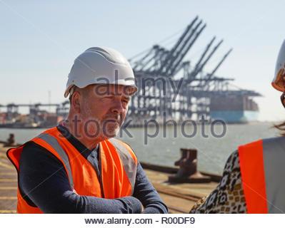 Dock worker at Port of Felixstowe, England - Stock Image