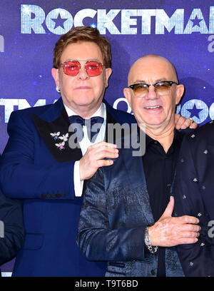 Elton John and Bernie Taupin attending the Rocketman UK Premiere, at the Odeon Luxe, Leicester Square, London. - Stock Image