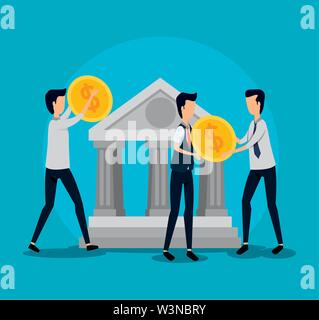 professional businessmen teamwork with coins and bank - Stock Image