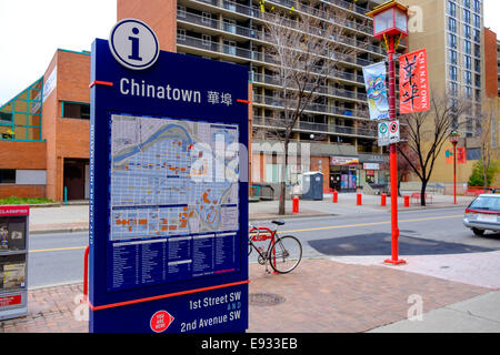 Chinatown in Calgary, Alberta, Canada located at 1st Street Southwest and Second Avenue Southwest - Stock Image