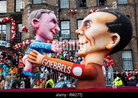 Düsseldorf, Germany. 4th March 2019. The annual Rosenmontag (Rose Monday or Shrove Monday) carnival parade takes place in Düsseldorf. Carnival float designed by Jacques Tilly depicting right-wing politican Björn Höcke as son of Josef Goebbels.. Photo: Vibrant Pictures/Alamy Live News - Stock Image