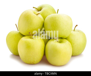 green apple path isolated on white - Stock Image