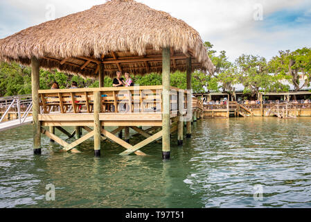 Thatch-covered dock at Caps on the Water, a local waterfront seafood restaurant on the Intracoastal Waterway in St. Augustine, Florida. (USA) - Stock Image