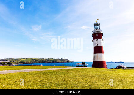 smeaton's tower lighthouse plymouth hoe, Plymouth lighthouse, smeaton's tower lighthouse, plymouth hoe, smeaton's tower, Plymouth, Plymouth Hoe, Devon - Stock Image