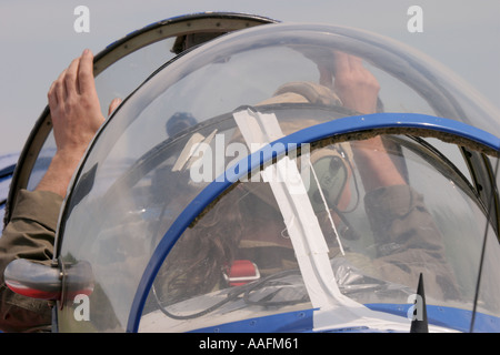 Pilot is waiting in opened cockpit - Stock Image