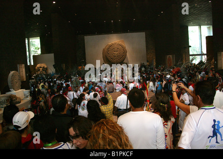 Aztec Celebration in the National Museum of Anthropology Chapultepec Park Mexico City Mexico - Stock Image