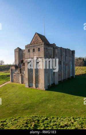 Castle Rising is a ruined medieval fortification in the village of Castle Rising, Norfolk, England. It was built soon after 1138 by William d'Aubigny - Stock Image