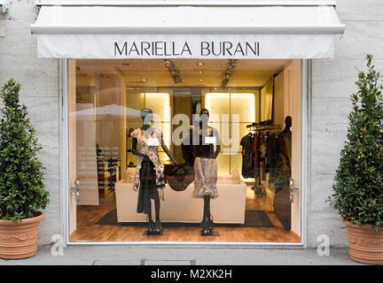 Exclusive clothes shop, Rimini, Emilia-Romagna, Italy - Stock Image