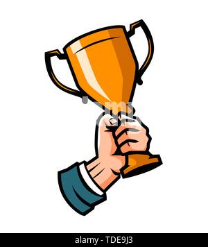 Businessman holding a cup winner. Business goal achievement. Vector illustration - Stock Image