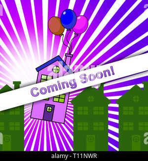 Coming Soon Icon Shows Upcoming Real Estate Property Available. Realty Ownership Project Upcoming - 3d Illustration - Stock Image