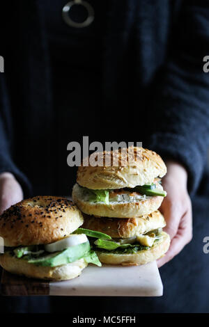 Variety of bagel sandwiches - Stock Image