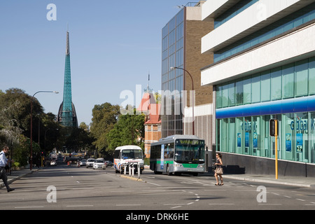 Looking south down Barrack Street to the Bell Tower monument. City center of Perth, Western Australia. - Stock Image