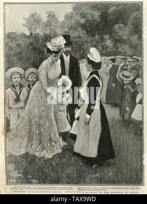 Children at Marlborough House, Presenting a bouquet to the Princess of Wales (Mary of Teck), 1902 - Stock Image