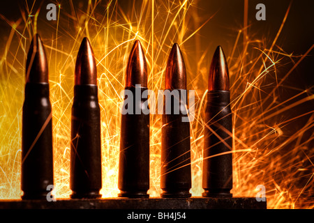 AK-47 assault rifle cartridges - Stock Image