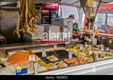 Fish For Sale Open Air Market, Bergen, Norway, - Stock Image