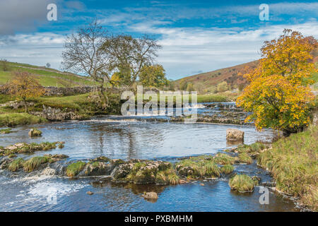 Yorkshire Dales National Park autumn landscape, the upper reaches of the river Wharfe, Langstrothdale, UK - Stock Image