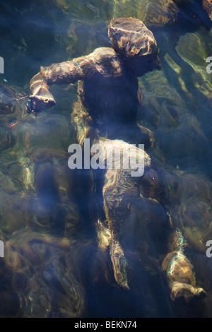 Detail from underwater statue of The Merman and his seven sons (Agnete Og Havmenden), Gammell Strand Canal, Copenhagen, - Stock Image