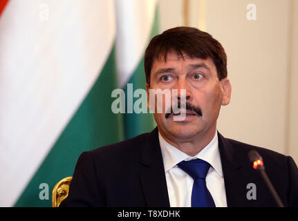 Budapest, Hungary. 15th May, 2019. Hungarian President Janos Ader speaks during a press conference after meeting with Czech President Milos Zeman (not seen) on May 15, 2019, in Budapest, Hungary. Credit: Katerina Sulova/CTK Photo/Alamy Live News - Stock Image