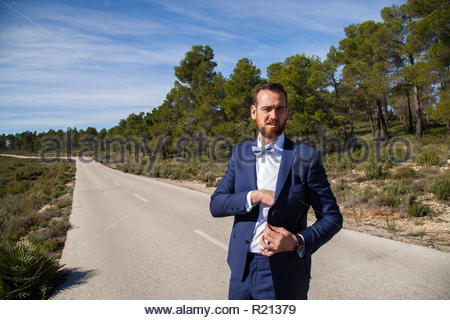 Man with beard, blue suit and bow tie poses in a rural landscape - Stock Image