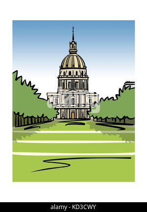 Illustration of the Dome of Les Invalides in Paris, France - Stock Image