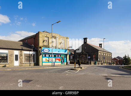 The centre of Greenmount village, Bury, Lancashire, at the junction of the  B6215 Holcombe Road and Brandlesholme - Stock Image