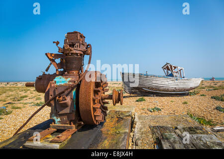 abandoned winch machinery and fishing boat - Stock Image