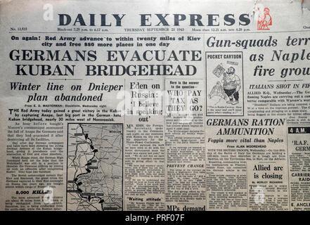 Front page headlines of the Daily Express newspaper 'Germans Evacuate Kuban Bridgehead' London England UK  September 23 1943 - Stock Image
