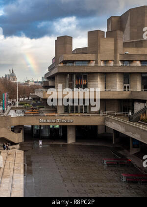 The National Theatre building, Southbank, London, UK. - Stock Image