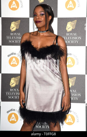 LONDON, UK. March 19, 2019: London Hughes arriving for the Royal Television Society Awards 2019 at the Grosvenor House Hotel, London. Picture: Steve Vas/Featureflash Credit: Paul Smith/Alamy Live News - Stock Image