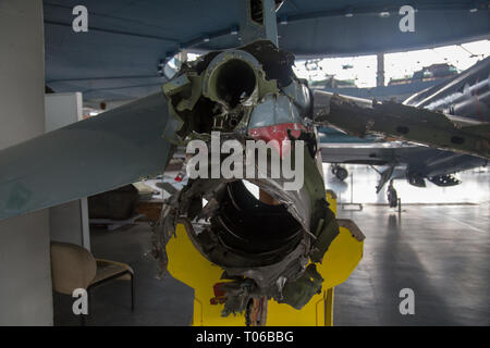 Destroyed aircraft tail section of Soko G-4 Super Galeb, Super Seagull displayed in Serbian Aeronautical museum in Belgrade - Stock Image