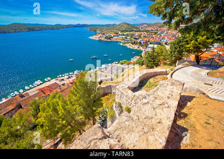City of Sibenik coast view, Dalmatia region of Croatia - Stock Image