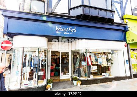 Weird Fish clothing, Whitby Yorkshire UK England, Weird Fish shop, Weird Fish store, Weird Fish sign, Weird Fish clothes shop, Weird Fish, shop, store - Stock Image