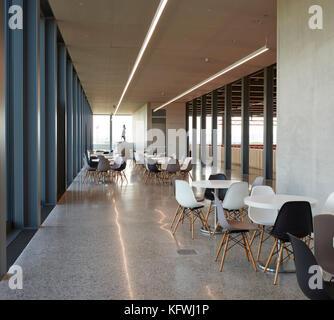 Cafe area. Carmen Würth Forum, Künzelsau-Gaisbach, Germany. Architect: David Chipperfield Architects Ltd, - Stock Image
