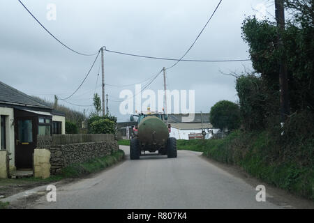 A slurry lorry in Cornwall - Stock Image