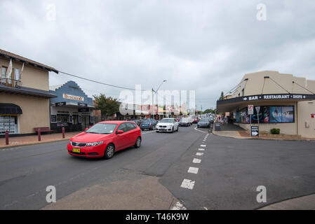 Weekend congested traffic in the main street of the popular New South Wales south coast town of Milton - Stock Image