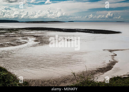 The mud flats at low tide at Clevedon Pill, Somerset, England - Stock Image