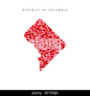 I Love Washington. Red Hearts Pattern Vector Map of District of Columbia - Stock Image