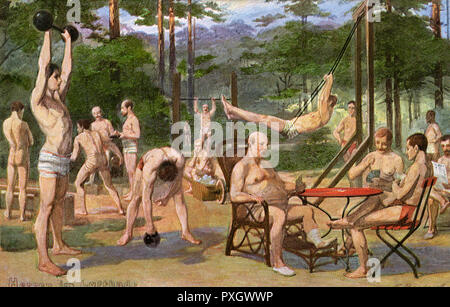 German Men at an open air spa, taking exercise, playing cards and lifting weights.     Date: circa 1905 - Stock Image