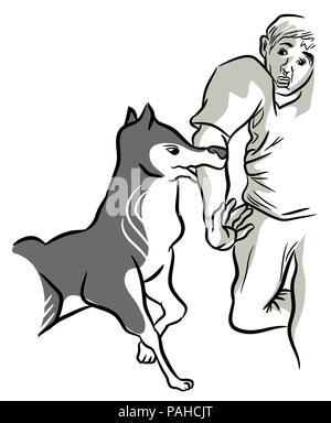 Dog biting.  Angry dog biting hand. illustration of dog keeps biting man's hand. - Stock Image