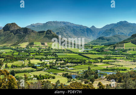 Franschhoek valley, Western Cape Province, South Africa. - Stock Image